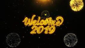 Powitanie 2019 Życzy powitanie kartę, zaproszenie, świętowanie fajerwerk Zapętlający
