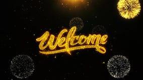 Powitanie Życzy powitanie kartę, zaproszenie, świętowanie fajerwerk Zapętlający