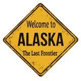 Powitanie Alaska rocznika metalu ośniedziały znak Fotografia Stock