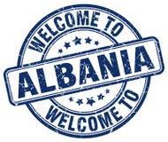 powitanie Albania round błękitny znaczek Zdjęcia Stock