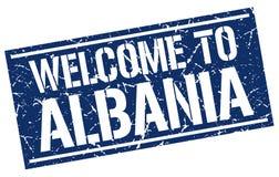 Powitanie Albania znaczek Obrazy Stock