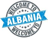 Powitanie Albania znaczek Zdjęcia Stock