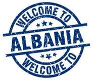 Powitanie Albania znaczek Zdjęcie Stock