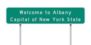 Powitanie Albany drogowy znak ilustracja wektor