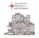 Powitanie Amsterdam plakat w liniowym stylu Zdjęcia Royalty Free