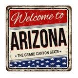 Powitanie Arizona rocznika metalu ośniedziały znak Zdjęcie Stock