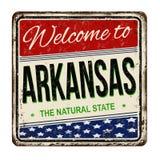 Powitanie Arkansas rocznika metalu ośniedziały znak ilustracja wektor