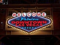 Powitanie Bajecznie w centrum Las Vegas Nevada znak Zdjęcie Stock