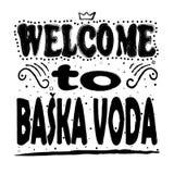 Powitanie Bask Voda - Wielki ręki literowanie ilustracja wektor