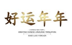 Powitanie Chińskiego języka Tranlation szczęście Na zawsze Fotografia Stock