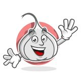 Powitanie czosnku maskotka, czosnku charakter, czosnek kreskówka Zdjęcie Stock