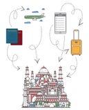 Powitanie India plakat w liniowym stylu ilustracja wektor