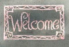 Powitanie, inskrypcja w kredzie Zdjęcia Royalty Free