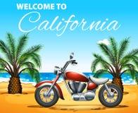 Powitanie Kalifornia plakatowy projekt z motocyklem na plaży royalty ilustracja