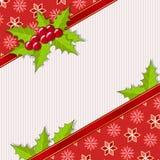 Powitanie kartka bożonarodzeniowa z holly Obraz Stock