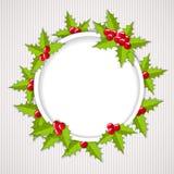 Powitanie kartka bożonarodzeniowa z holly Obraz Royalty Free