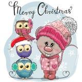 Powitanie kartki bożonarodzeniowej Śliczny szczur i trzy sowy ilustracja wektor