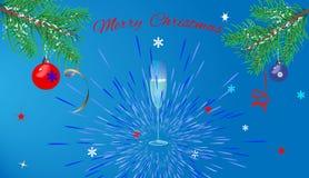 Powitanie kartki bożonarodzeniowa błękita tło Obraz Stock
