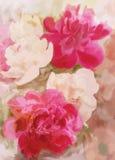Powitanie kwiecista karta z peonią Obraz Royalty Free