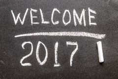 Powitanie 2017 na kredowej desce Fotografia Stock