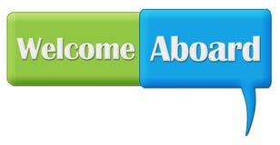 Powitanie Na pokładzie Zielony Błękitny komentarza symbol Fotografia Stock