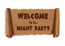 Powitanie nocy przyjęcia tekst na ślimacznica faborku zdjęcia royalty free