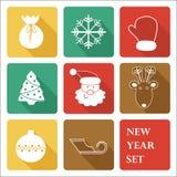Powitanie nowego roku ikony set Zdjęcie Stock