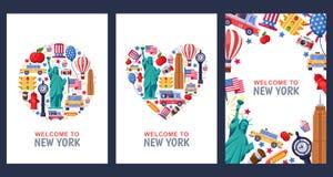 Powitanie Nowy Jork powitania pamiątki karty, druk lub plakatowy projekta szablon, Podróż usa mieszkania ilustracja ilustracja wektor