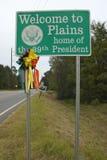ï ¿ ½ powitanie Plainsï ¿ ½ znak dom 39th prezydent, Jimmy Carter, równiny, Gruzja Zdjęcia Stock
