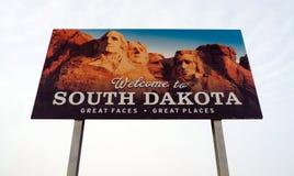 Powitanie Południowy Dakota twarzy miejsc autostrady Wielki znak Zdjęcie Royalty Free