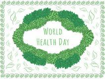 Powitanie ramowy Echeveria - Światowych zdrowie dzień ilustracja wektor