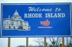 Powitanie Rhode - wyspa Znak fotografia stock