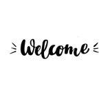 Powitanie: wektor odosobniona ilustracja Szczotkarska kaligrafia, ręki literowanie Inspiracyjny typografia plakat Obraz Royalty Free