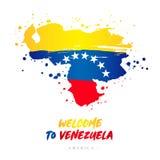 Powitanie Wenezuela Flaga i mapa kraj ilustracji