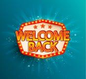 Powitanie z powrotem retro sztandar z rozjarzonymi lampami ilustracji