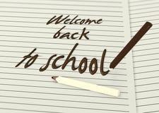 Powitanie z powrotem szkoła czekoladowymi ołówkami Fotografia Royalty Free