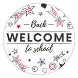 Powitanie z powrotem szkoła sztandar lub majcher również zwrócić corel ilustracji wektora Zdjęcie Royalty Free