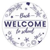 Powitanie z powrotem szkoła sztandar lub majcher również zwrócić corel ilustracji wektora Zdjęcia Stock