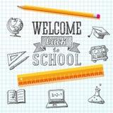 Powitanie z powrotem szkoły wiadomość na papierze z ilustracji