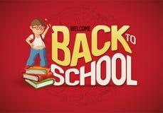 Powitanie Z powrotem szkoła plakat Zdjęcia Stock