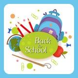 Powitanie z powrotem szkoły etykietka, odznaka Zdjęcie Stock