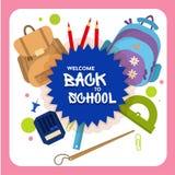 Powitanie z powrotem szkoły etykietka, odznaka Fotografia Stock