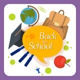 Powitanie z powrotem szkoły etykietka, odznaka Zdjęcia Royalty Free