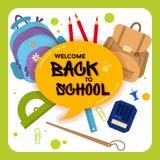 Powitanie z powrotem szkoły etykietka, odznaka Obrazy Royalty Free