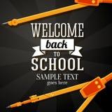 Powitanie z powrotem szkoły kartka z pozdrowieniami z miejscem ilustracja wektor