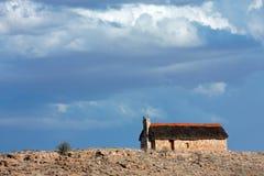powlekane strzechą hut krajobrazu Zdjęcia Stock