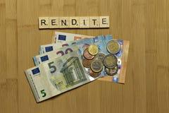 Powrót na kapitale, fedrunek niemiec Rendite zdjęcie royalty free