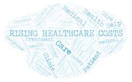 Powstająca opieka zdrowotna kosztów słowa chmura royalty ilustracja