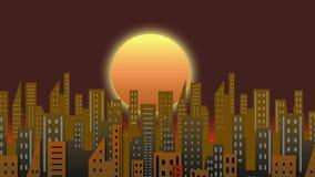 Powstającego słońca budynku czasu upływu animaci ruchu grafika tła pętla HD royalty ilustracja