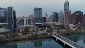 Powstający odwrotny widok z lotu ptaka Austin Teksas i Kolorado rzeka zbiory
